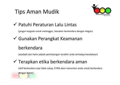 Tips Mudik RSA - 2