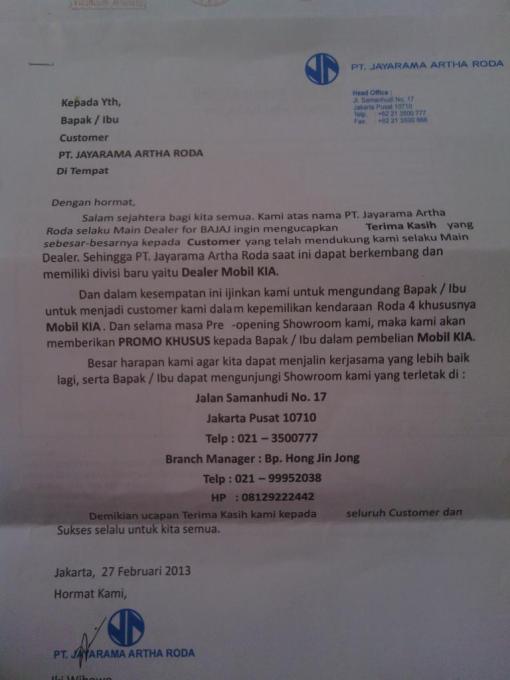 JAR Samanhudi tutup ganti dealer KIA